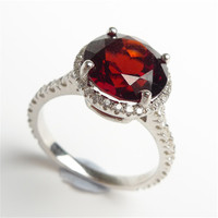 Lover S Wedding Party 925 Sterling Silver Ring AAAA Size 6 Natural Wine Red Garnet Gems