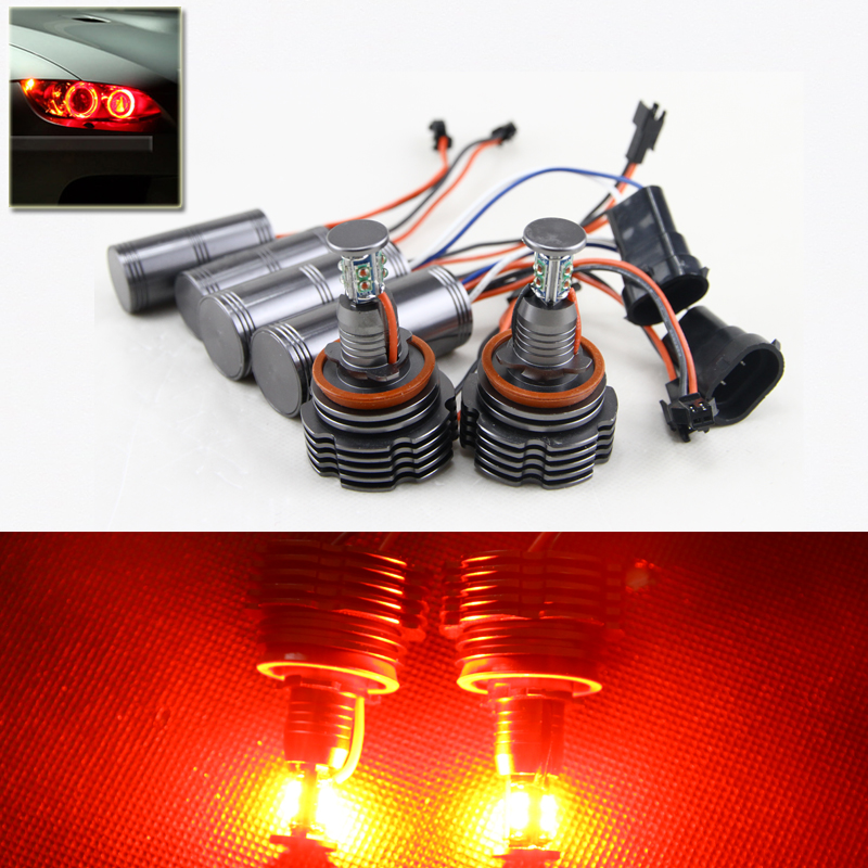 ФОТО 360 Degree Bright Red Color 40W High Power H8 Led Marker Angel Eyes Halo Rings DRL Fog Light Bulbs Kit For Bmw 1 3 5 X Series