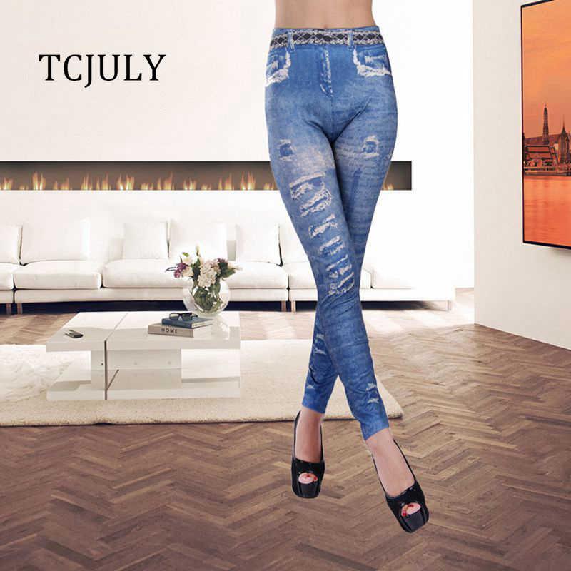 bdc9be6f06654b TCJULY New Arrival Fashion Jeggings Imitation Cowboy Slim Leggings Women  Seamless Elastic Skinny Printing Ladies Push