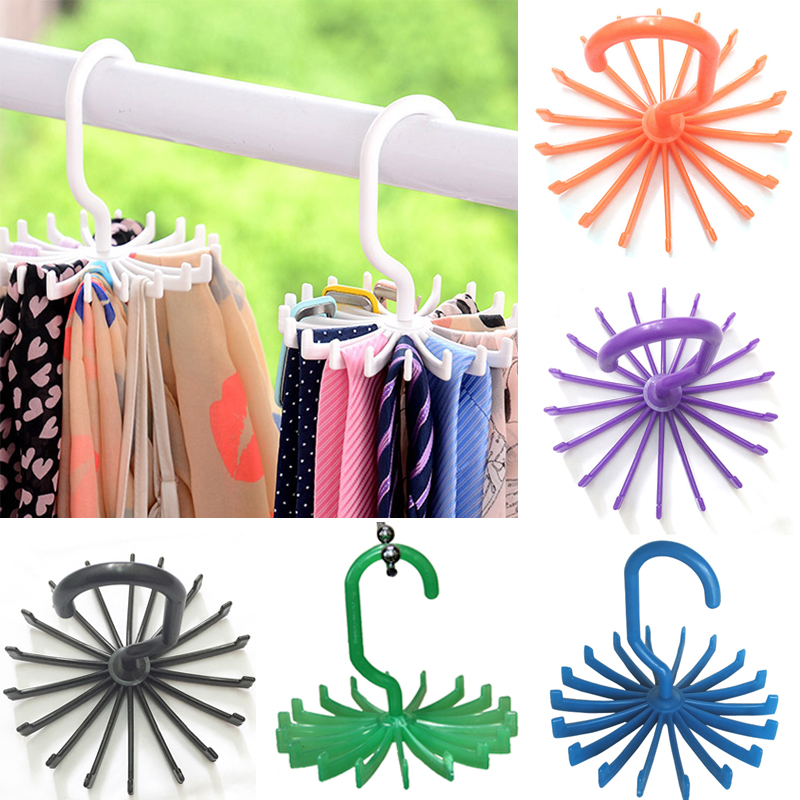 Hot 1 Piece Plastic Portable Tie Rack Til Skabe Rotating Hook Holder Bælter Tørklæder Hanger For Men Women Clothing Organizer
