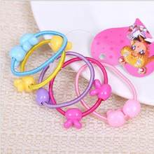 50 pcs High Quality Elastic Hair Tie Children Rubber Hair Band Carton Round Ball Kids Elastic Hair bands(China)