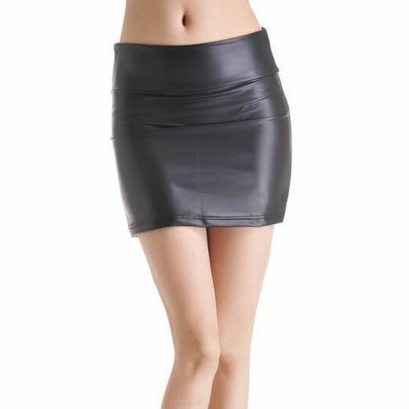 EFINNY Sexy Women Bodycon Mini Skirt High Wasit Faux Leather Zip Mini Short Black Skirt S-3XL