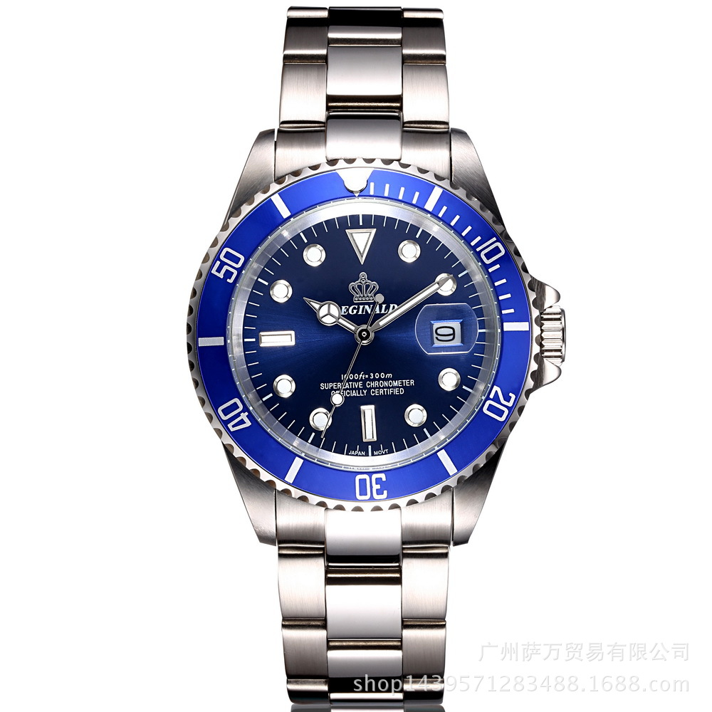 REGINALD Couronne quartz mâle montre d'affaires décontractée hommes En Acier de calendrier Japon étanche calendrier Hight Bracelet À Quartz montres