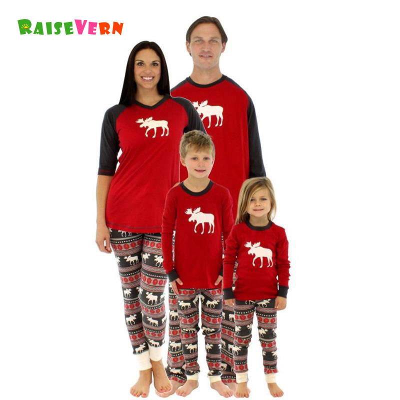 Christmas Reindeer Family Matching Outfits Adult Kids Children Clothes Set Long Sleeve Pajamas Sleepwear Festival Baby Deer Suit