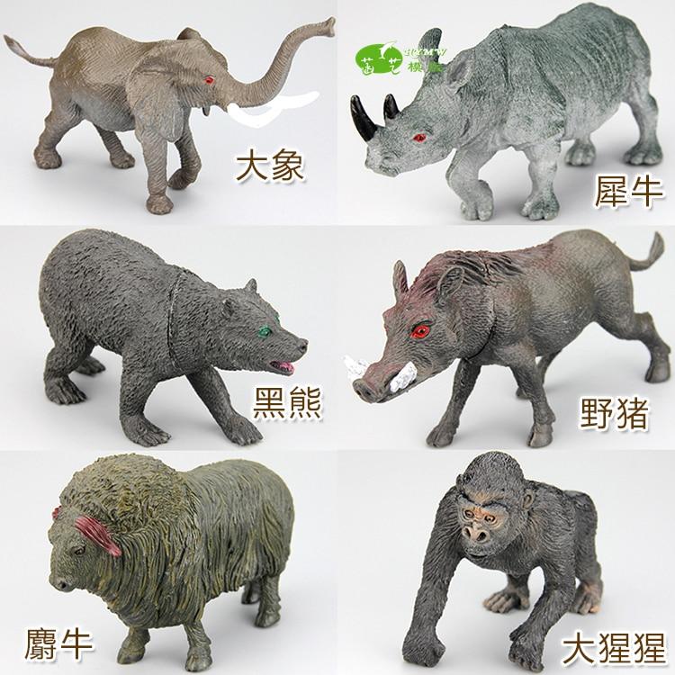 pvc figure  Elephant rhinoceros black bear wild boar muslet cow goril wild  animal ornaments   toy 6pcs/set флогер wild black