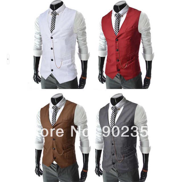 Wholesale! Free shipping New high quality man Slim V-neck vest Fashion men suits vest Handsome man must jacket tops 5 colors