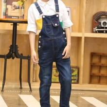 Детский джинсовый комбинезон с карманами, джинсовый комбинезон для мальчиков-подростков на весну и осень, комбинезон для девочек, комбинез...