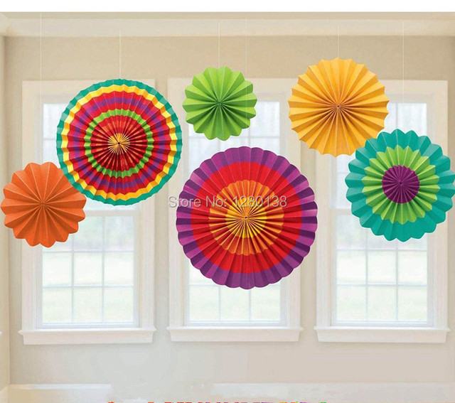 6packs Colorful Handcraft Paper Fan Rosettes Folding Flower For Home Wedding Shower Backdrop Decor