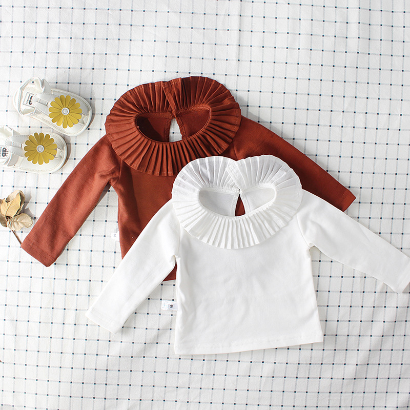 2018 Fall Baby Girls Blouses Little Kids White Brown Cotton Shirt Toddler Girls Puffer Pleated Collar Tee Infant Girls Blouses