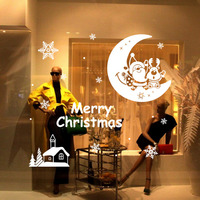 2016 New Design Merry Christmas Santa Claus Moon Wall Stickers Removable Sticker Living Room Bedroom Decor