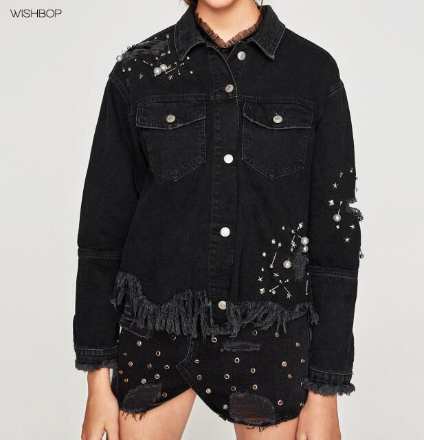 WISHBOP 2017 NEW High Fashion Black Denim Ripped jacket with studs piercings faux pearls front pockets Frayed Hem button-up frayed curved hem denim jacket