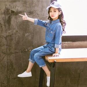 Image 3 - Abesay Denim odzież dziecięca koszula z długim rękawem + spodnie 2 szt. Casual Girls Clothes Set odzież zimowa nastoletnie dziewczyny 6 8 12 rok