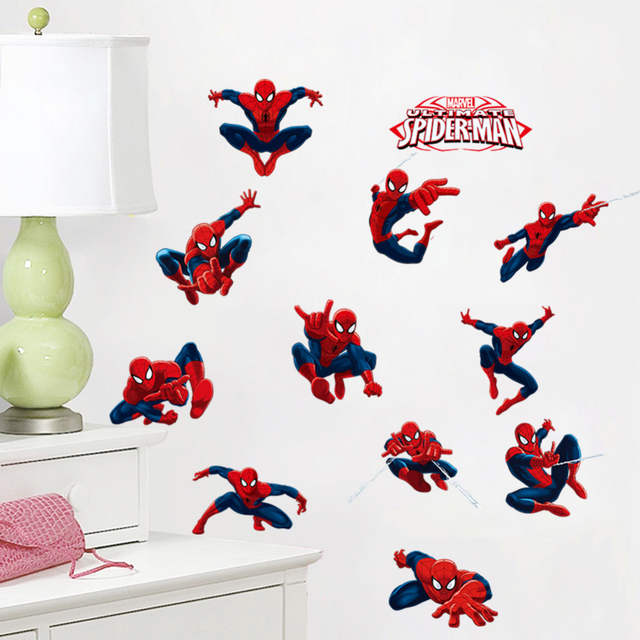 online shop diy 11 pose spiderman wall stickers for kids room pvc
