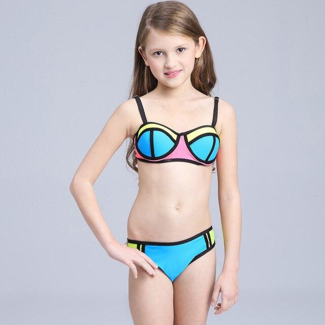 1736e9e3 Sexy Bikini niñas traje de baño Patchwork niños playa traje de baño para  adolescentes niñas Bikinis