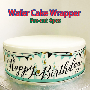 4pcs/lot Edible Wafer Paper for Birthday Cake Wrapper,Pre-cut Wedding Lace Cake creative decoration, birthday cake decoration
