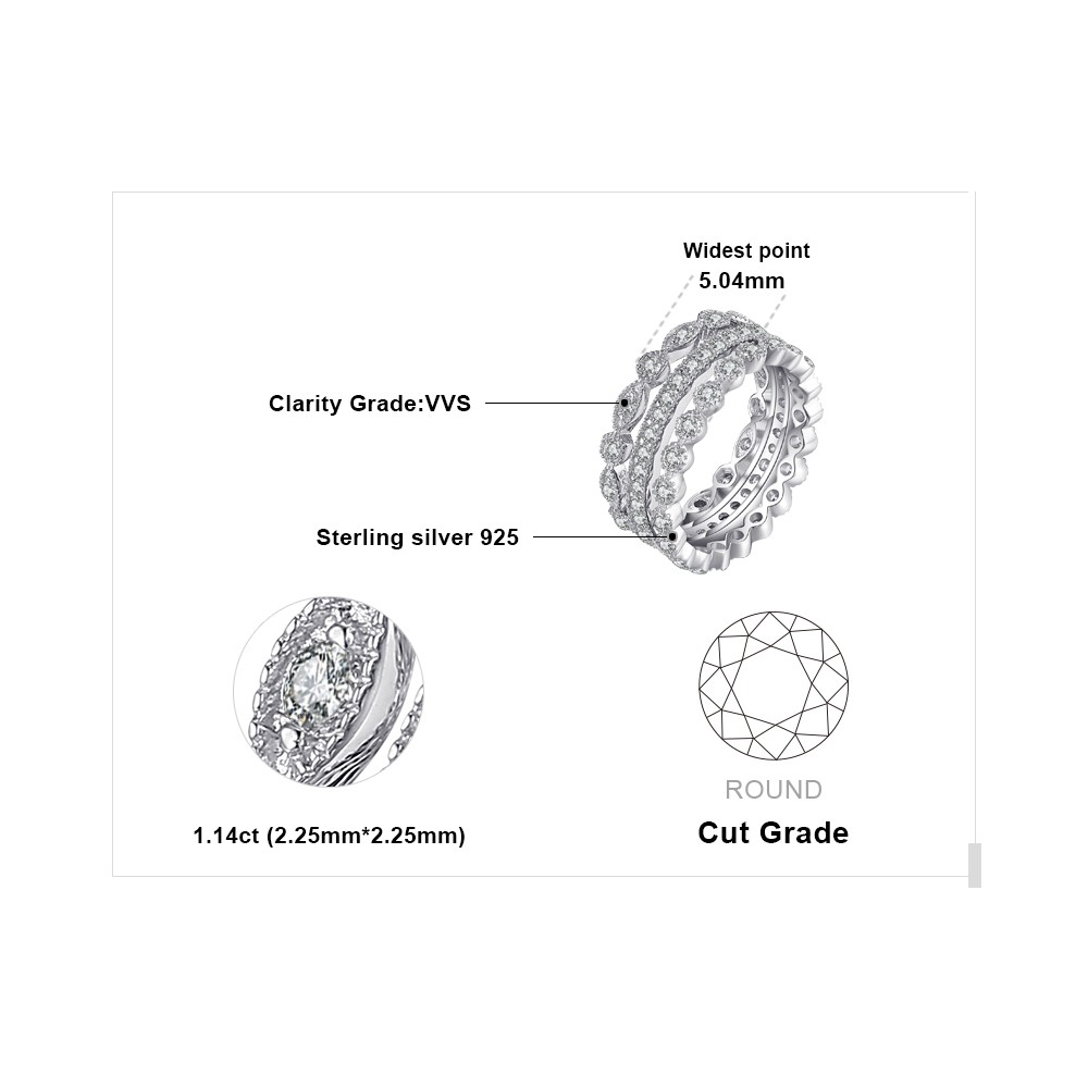 Jewelrypalace mode 2.15ct cubic zirconia 3 keabadian band rings untuk - Perhiasan fashion - Foto 5