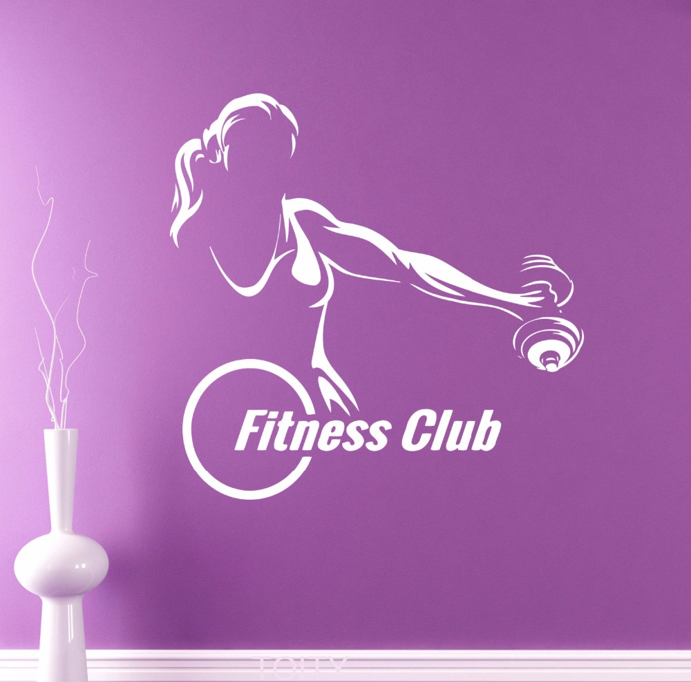 Fitness club emblem wall vinyl sticker gym logo decal