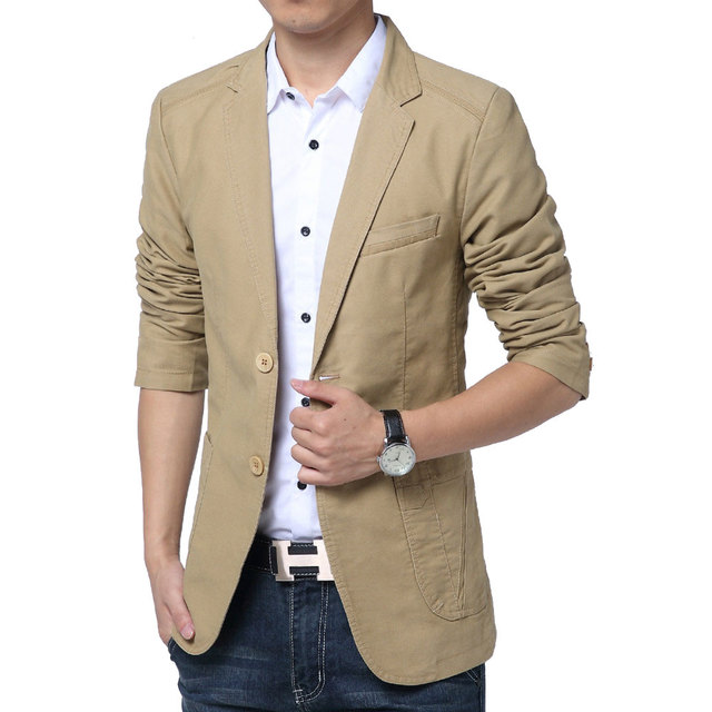 Casual Blazer Men High Quality Blaser Masculino Slim Fit Cotton Stylish Mens Blazer Jacket Cotton Two Button Business Dress Suit