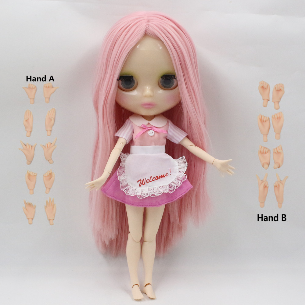 nude doll long straight pink hair joint doll factory blyth doll 230BL2650 color will change when