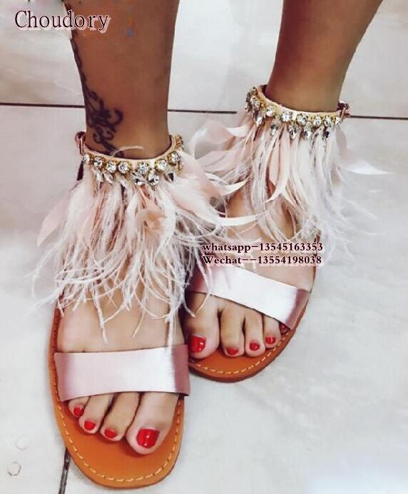 Femmes Party Femme Plume Toe Peep Picture Soie Satin Sandale The De Luxe Rose 2019 Diamant Chaussures Cristal As Strass Gladiateur Summer Plat UYwaUfx