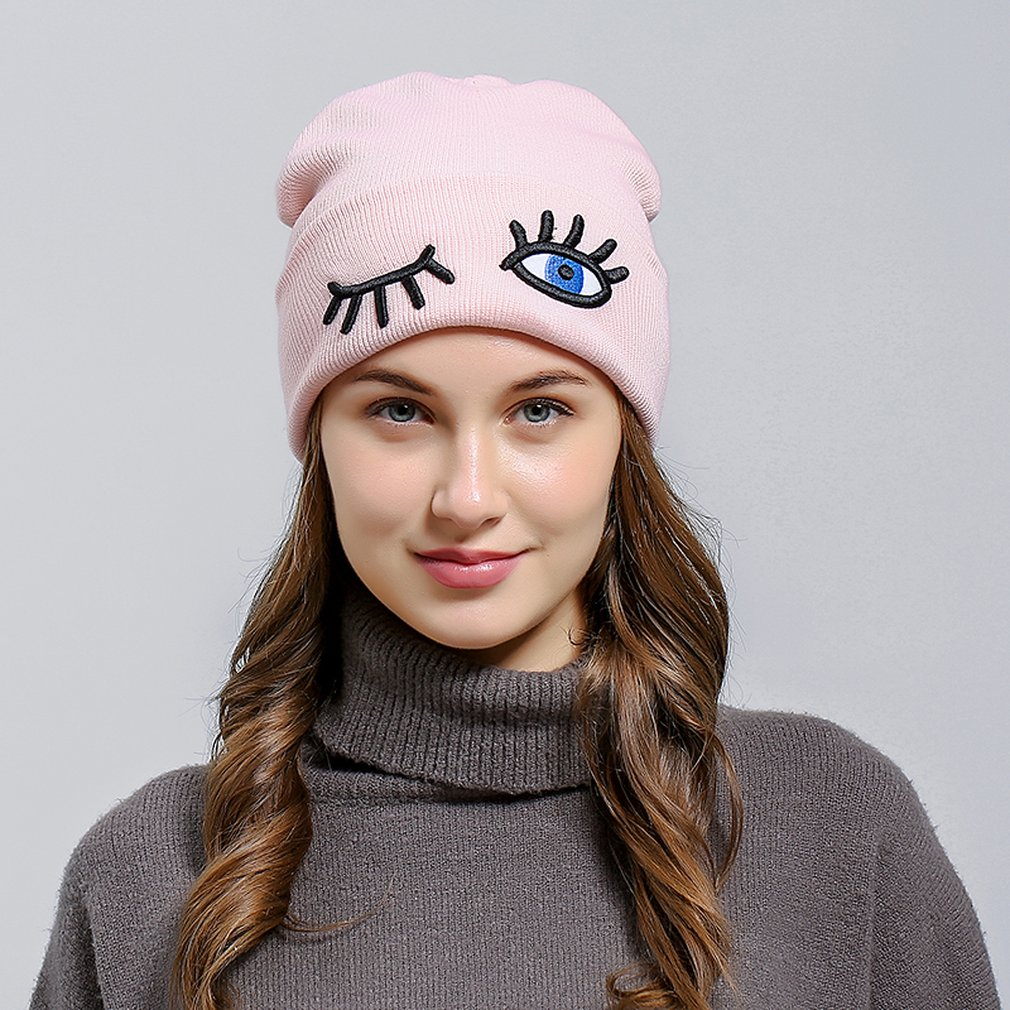 2018 Autumn Winter Women Skullies Beanies Hip Hop Funny Eyes Warm Female Hat  Pom Soft Lady da275b7a1de5