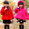 2017 new girls wool winter coats kids fur coat children warm cotton plush jacket Outwear Children's clothing 2-7 year