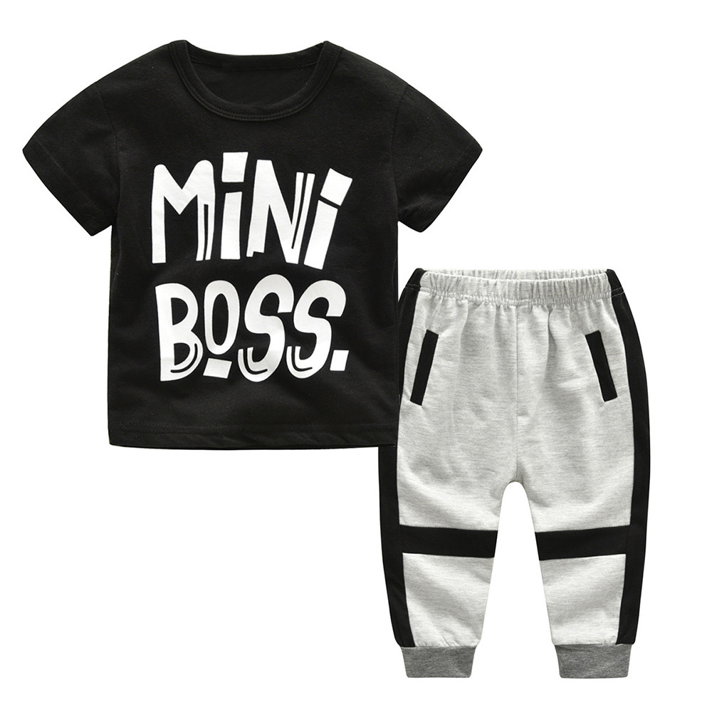 New summer childrens boys and girls round neck letter print T-shirt jacket + trousers 2 piece suit casual fashion sports sets