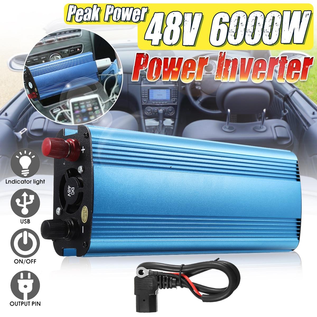 Autoleader 6000W Peak Power Car Power Inverter Charger Sine Wave DC 12V/24V/48V/60V To AC 220V Inverter Voltage Converter