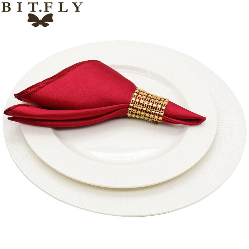 50pcs 30cm Table <font><b>Napkins</b></font> cloth Square Satin Fabric <font><b>Napkin</b></font> Pocket Handkerchief for Wedding birthday home party Hotel gold white