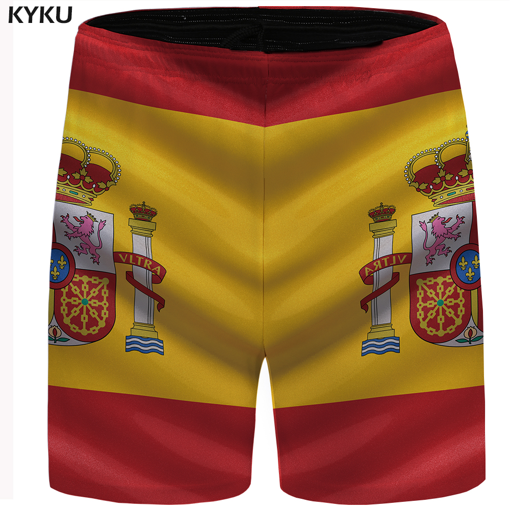 KYKU Brand Spain Shorts Men Colorful Flag Casual Shorts Hip Hop Bodybuilding Mens Short Pants Summer High Quality 2018 New