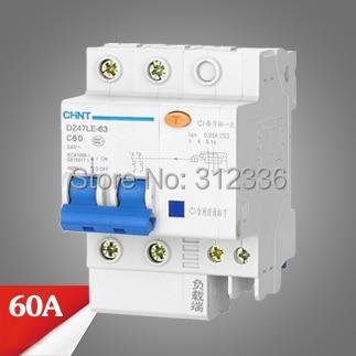 цена на Free Shipping Two years Warranty DZ47LE-63 C60 2P 60A 2 pole ELCB RCD earth leakage circuit breaker residual current