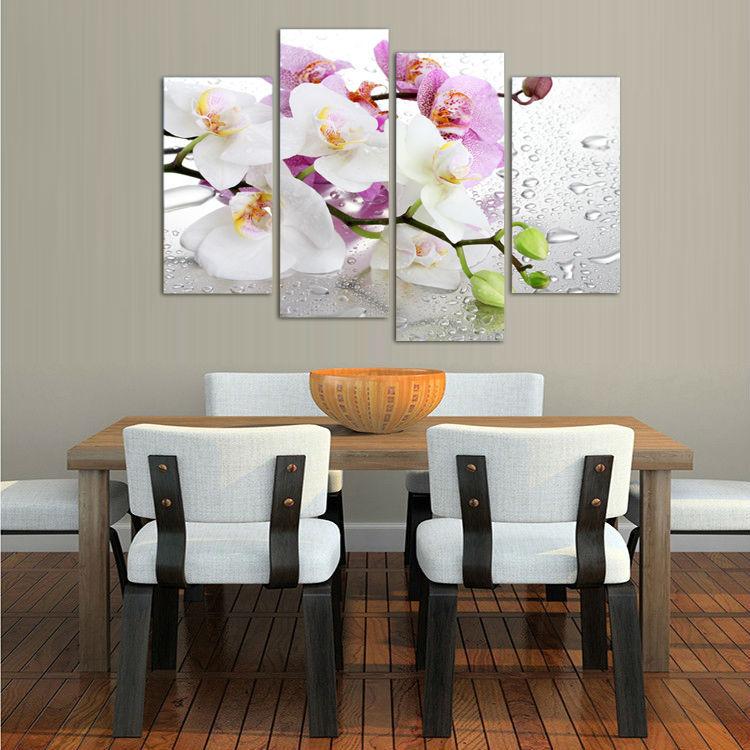 4 panel, Bunga putih tanaman seni dinding lukisan modular mencetak di - Dekorasi rumah - Foto 3