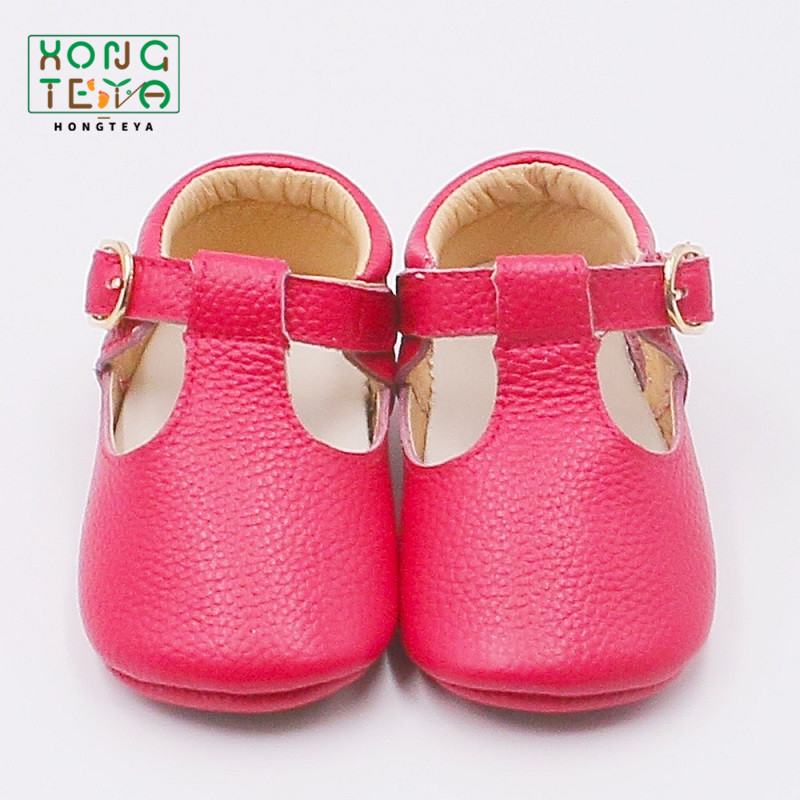 Hot Pink Baby Girl T-bar Shoes Genuine Leather Newborn Toddler Moccasins Rubber Non-slip First Walkers Bebe Girl Party Shoes