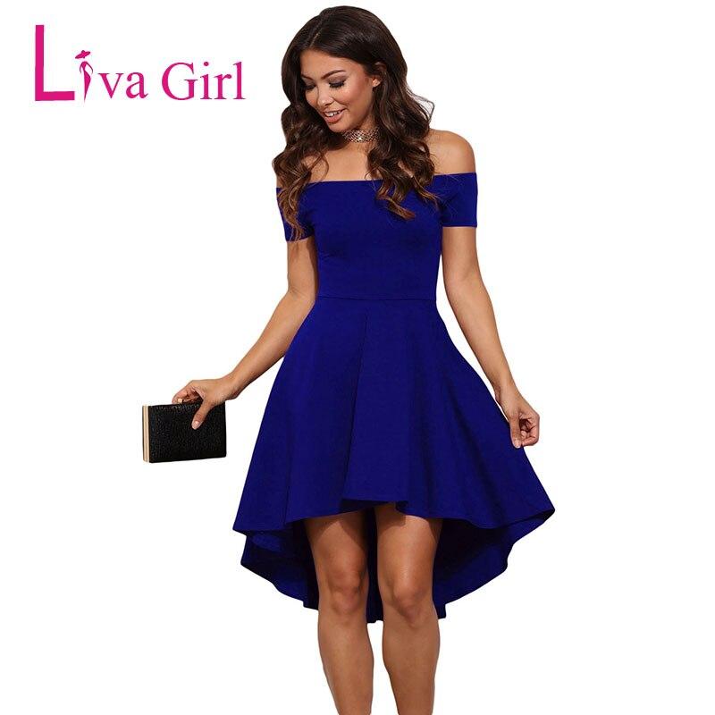 LIVA GIRL Elegantní letní večerní šaty Šaty Ženy Roztomilé Sexy Off Rameno Bruslař Šaty Modré / Černé / Červené Dámské Flared Vestidos