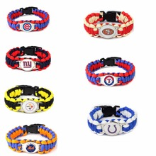Football Team Steelers Chicago Cubs SF Colts Texas Paracord Survival Bracelet Friendship Outdoor Camping Sports Parachute Rope
