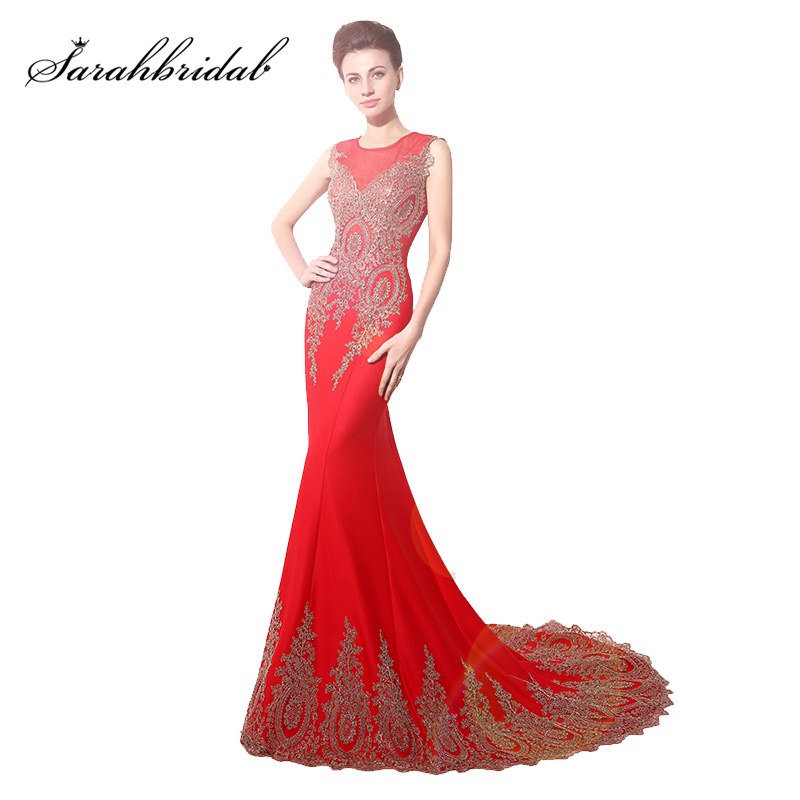 Elegant Red Mermaid   Prom     Dresses   Sheer Neck Gold Lace Appliques Formal Evening Gowns Party   Dresses   Cheap Clearance XU028