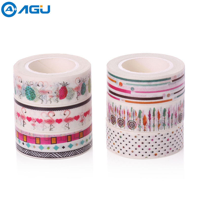 AAGU 15mm*10m Penguin Pattern Colorful Stationary Washi Tape 7 Patterns Hand Tear Adhesive Tape Cheap Price Fashion Masking tape aagu new arrival 1pc 15mm 10m musical note fresh floral washi tape strawberry sticky adhesive tape various patterns masking tape