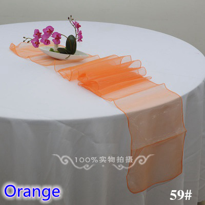 Orange Colour High Quality Crystal Organza Table Runner For Linen Table Covers Modern Party Wedding Decoration Wholesale