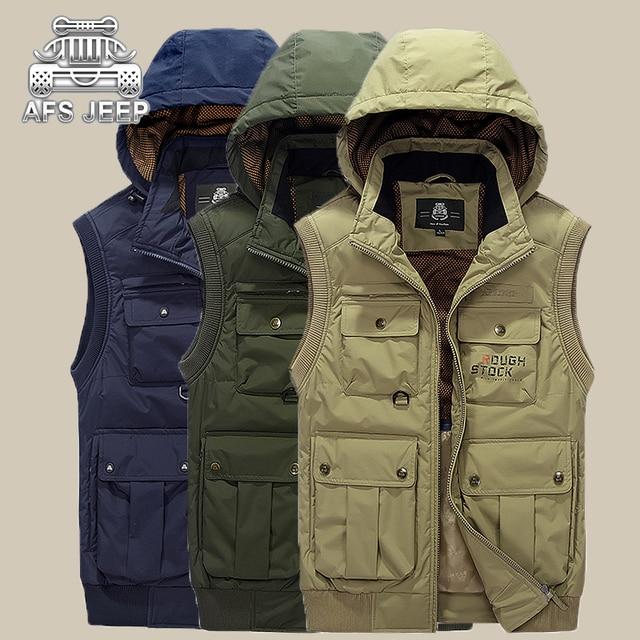 Для мужчин жилет с капюшоном бренд АФН джип Новый 2017 осень-зима chalecos Hombre грех манга карманов Дизайн фотографии Для мужчин s повседневная одежда