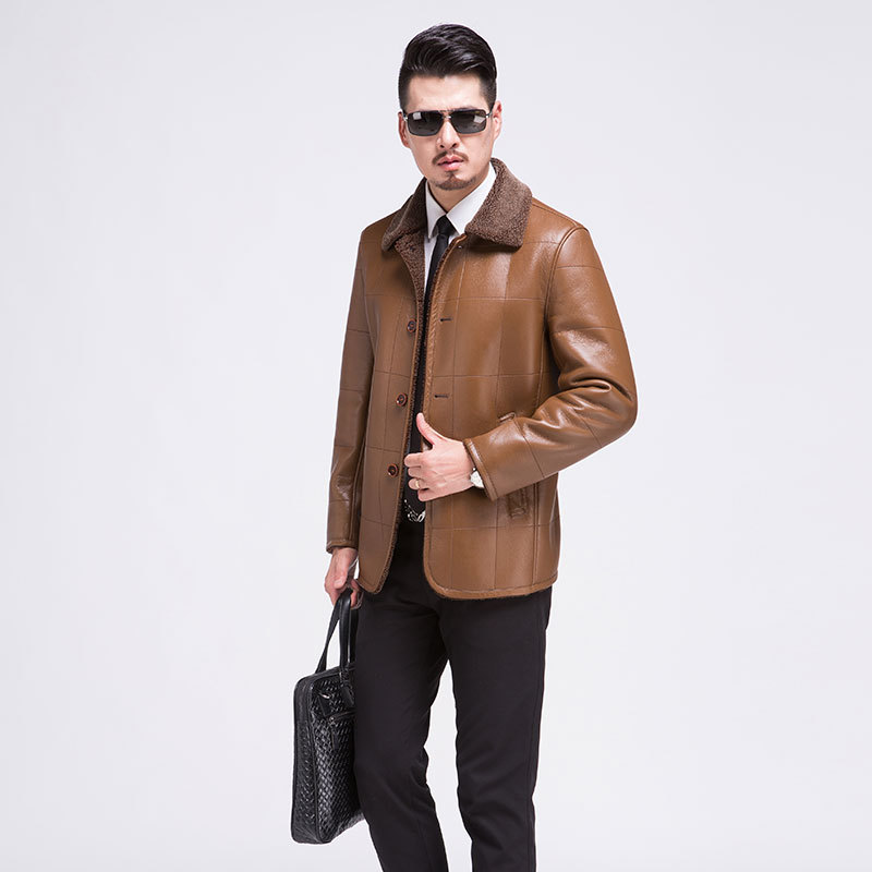 Winter trade leather fur overcoat mens leather jacket and coat plus thick velvet turn dowm collar plaid fleece leather jacket