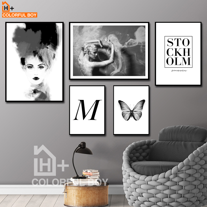 Fashion Girl Flower Butterfly Wall Art Canvas Painting Nordic Posters And Prints Black White Pictures For Living Room Decor