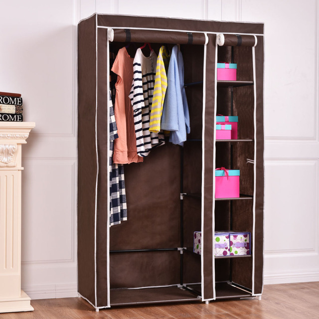 69 Portable Closet Storage Organizer Clothes Wardrobe Shoe Rack W 6 Shelf Brown Hw54397bn