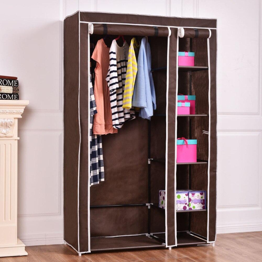 69 Portable Closet Storage Organizer Clothes Wardrobe Shoe Rack W/6 Shelf Brown HW54397BN