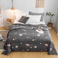 Покрывало звездное небо одеяло 200x230 см высокой плотности супер мягкое фланелевое одеяло для дивана/кровати/автомобиля портативные пледы