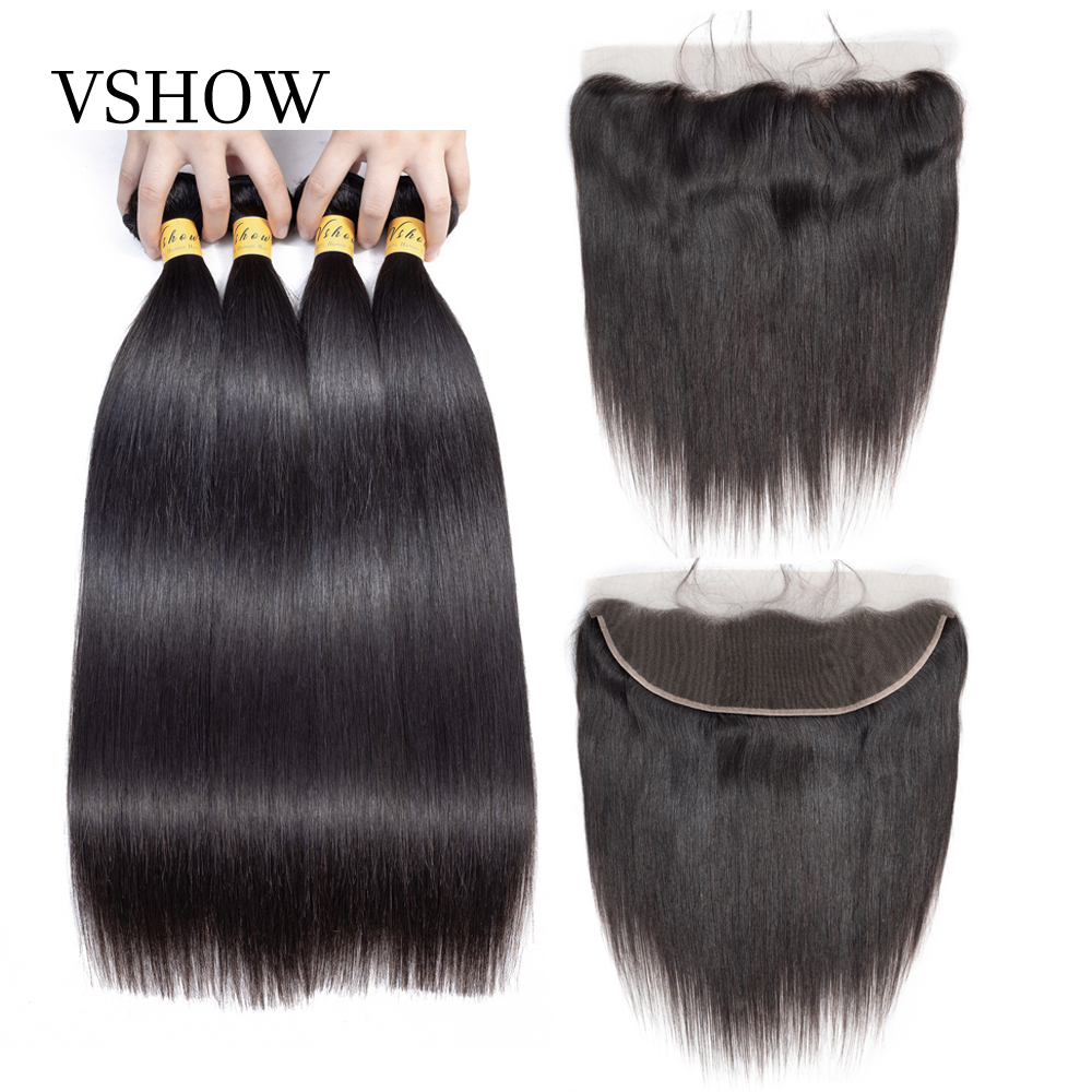 VSHOW Malaysian Straight Hair Bundles With Frontal Closure 100 Remy Human Hair Extension Weave 3 Bundles