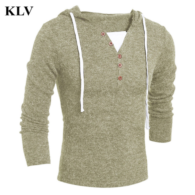New Autumn Winter Fashion Sweater Men's Slim Fit Pollover Knit Sweater Male Solid  Hooded  Blouse Coat Long Sleeve Tops Oct25