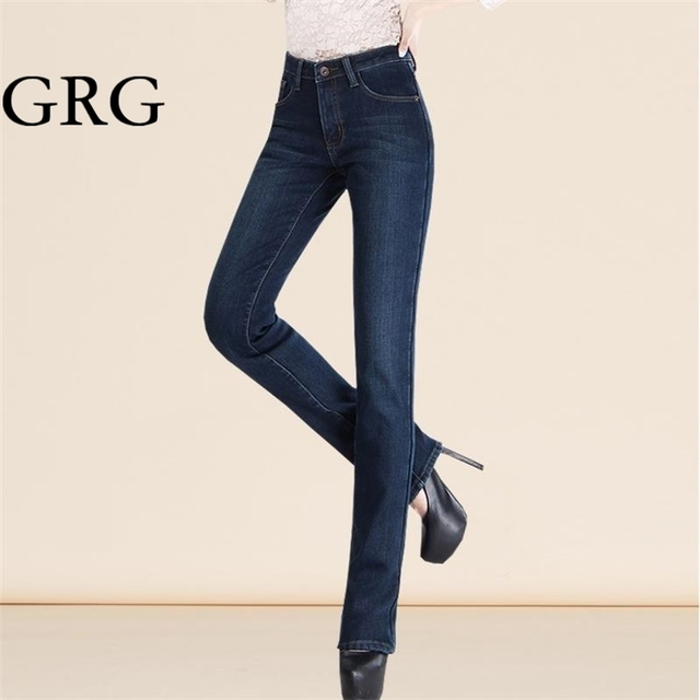 Free Shipping Women's winter thermal trousers high waist straight jeans female plus velvet thickening jeans plus size pants