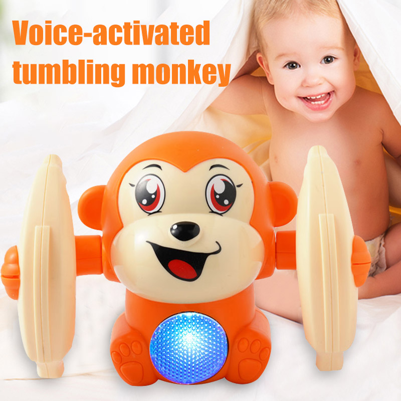 Baby Voice Control Rolling Little Monkey Toy Walk Sing Brain Game Crawling Electric Toys S7JN