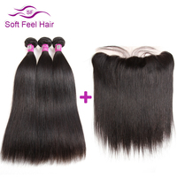 Soft Feel Hair Brazilian Straight Hair Weave Bundles With Frontal Human Hair Lace Frontal Closure With