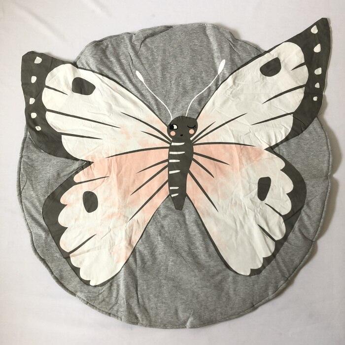 95 см детская игра коврики круглый коврик, мат хлопок Лебедь Ползания одеяло пол ковер для детской комнаты украшения INS подарки для малышей - Цвет: Butterfly
